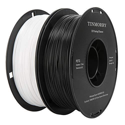 Filamento PETG 1,75 mm, TINMORRY Materiales de Impresión 3D Filamento 2 kg 2 Spool, Negro + Blanco