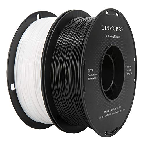 Filament PETG 1,75 mm, TINMORRY PETG 1,75mm Filament für FDM 3D Drucker, 3D Druckmaterialien 2 kg 2 Spool, Schwarz + Weiß