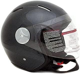 Motorcycle Scooter PILOT Open Face Helmet DOT - Carbon Fiber (Small)