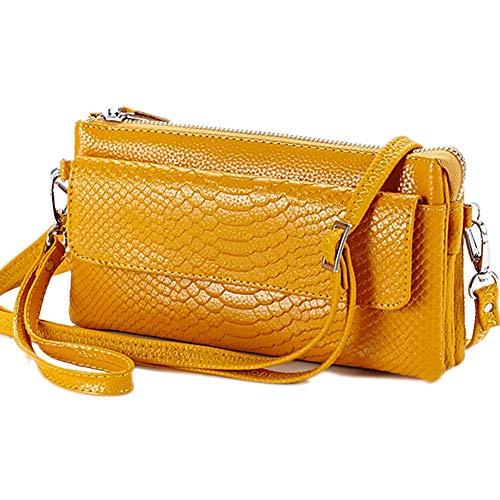 Patrón de serpiente cremallera señoras monedero monedero cuero genuino bolsa de teléfono de gran capacidad largo embrague pulsera cartera Crossbody hombro, color Amarillo, talla Small