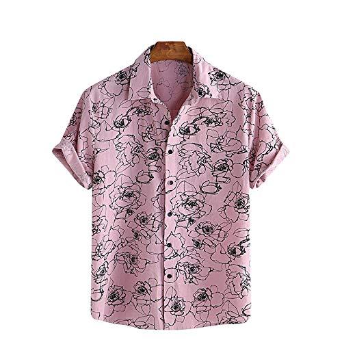 Camisa de Manga Corta con Solapa de Color en Contraste para Hombre Camisas Casuales de Tendencia básica clásica cómoda y versátil de Verano L