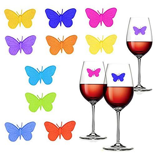 Ceqiny 10 Stück Glasmarker Wiederverwendbarer Weinglasmarkier Schmetterlings Glas Identifikations Weinglaser Getränke Markierungen Weinglas Marker für Becher Champagner Flöten Cocktails Glas