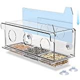 Scare Free Window Bird Feeder. Birds See Reflection in Bird Feeder Window & Dont Scare with One Way Mirror. Window Bird Feeders with Strong Suction Cups Hold The Bird Feeder for Window