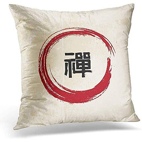 jonycm Pillowcase Rojo Marcial Zen Caligrafía Protectores Japoneses Algodón Habitación para Niños Sofá del Coche Fundas De Almohada Funda De Almohada Poliéster Cuadrado Hogar Cremallera O