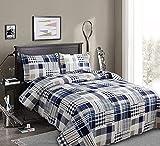 Patchwork Bedding Plaid Quilts Set Full/Queen Size, 3Pcs Navy Blue Buffalo Bedspreads Summer Lightweight Coverlet Pillow Shams