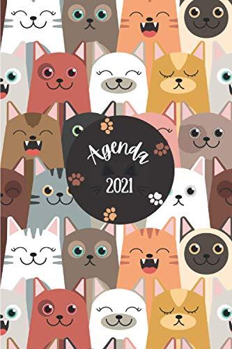 Agenda 2021 Gatos: Agenda 2021 semana vista Gato - una Semana en dos Páginas - organizador - planificador semanal y mensual 12 meses A5 - agenda ... para gatitos mujer hombre & cats lovers