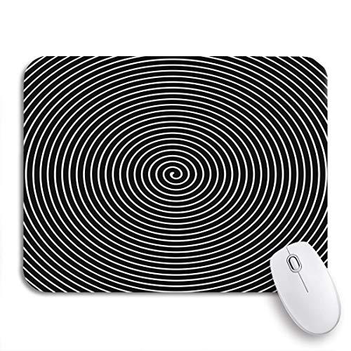 Gaming mouse pad optisch schwarz-weiß hypnotisch spirale vertigo swirl twirl rutschfeste gummiunterlage mousepad für notebooks computer mausmatten