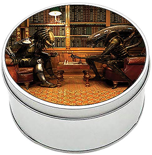 MasTazas Alien Vs Predator Ajedrez Chess AVP Caja Redonda Lata Round Metal Tin Box