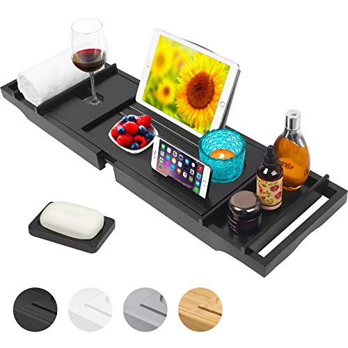 Artmalle Bamboo Bathtub Caddy Tray,Adjustable Bathroom Organizer for Luxury Bath, Book Stand with Extending Sides & Wine Holder,Free Soap Holder,Black