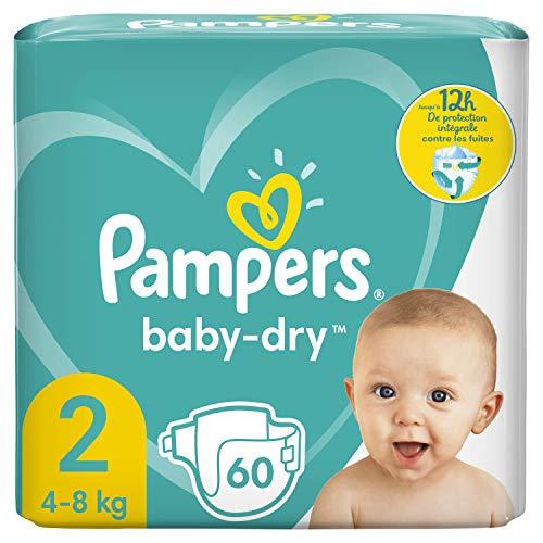 Pampers Baby-Dry Größe 2, 60 Windeln bis zu 12 Stunden Schutz, 4-8 kg, 2 Stück