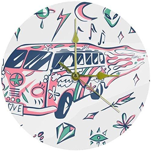 Reloj de Pared Redondo Silent Abstract Love Bus Planet Sun Art Decorativo Sin tictac Reloj silencioso para Regalo Hogar Oficina Cocina Guardería Sala de Estar (batería no incluida)