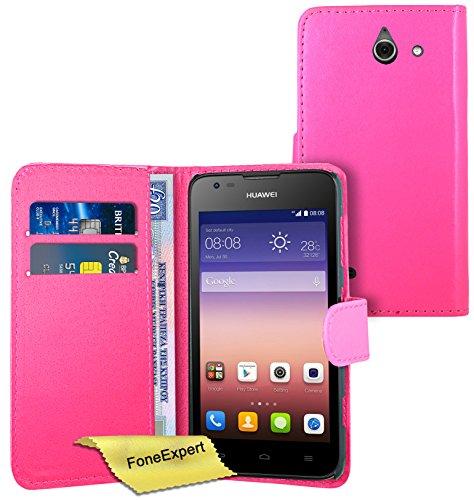 FoneExpert® Wallet Hülle Flip Cover Hüllen Etui Ledertasche Lederhülle Premium Schutzhülle für Huawei Ascend Y550 + Bildschirmschutzfolie (Rosa)