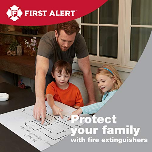 First Alert HOME2PRO Rechargeable Compliance Fire Extinguisher UL rated 2-A:10-B:C, White