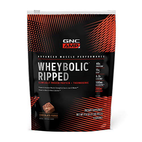 GNC AMP Wheybolic Ripped Whey Protein Powder - Chocolate Fudge, 9 Servings, Contains 40g Protein and 15g BCAA Per Serving