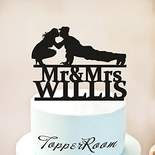 Military Theme Wedding Cake Topper,Military Wedding Cake Topper With Name,Silhouette Military Groom & Bride,Officer Uniform Cake Topper