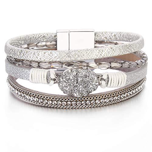 FANCY SHINY Leather Wrap Bracelet Boho Cuff Bracelets Crystal Bead Bracelet with Magnetic Clasp Jewelry Gifts for Women Teen Girls(7.7', Silver)