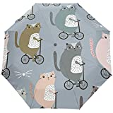 Parapluie Parapluie à Ouverture Automatique en Faisant du vélo Coupe-Vent Compact Parapluies pliants de Voyage