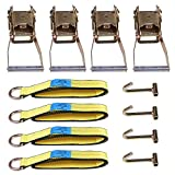 tube j hook for towing ratchet - cciyu Tow Strap, Lasso Wheel Lift Straps 3335 LBs Capacity Tie-Down Ratchet Straps with 2 Ratchet J Finger Hooks for Recover Your Vehicle