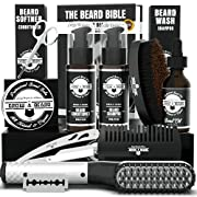 #LightningDeal Beard Straightener Grooming Kit for Men, Beard Growth Kit, Beard Wash, Brush & Comb, Unscented Growth Oil, All Natural Chanel Balm, Conditioner, Razor and Scissors, Great Gift for Christmas
