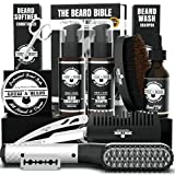Beard Straightener Grooming Kit for Men, Beard Growth Kit, Beard Wash, Brush & Comb, Unscented Growth Oil, All Natural Chanel Balm, Conditioner, Razor and Scissors, Great Gift for Christmas