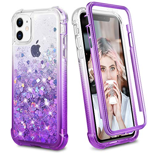 Ruky iPhone 11 Full Body Case with Built-in Screen Protector Glitter Liquid Floating Shockproof Protective Girls Women Heavy Duty Phone Case for iPhone 11 6.1 inches 2019 (Gradient Purple)