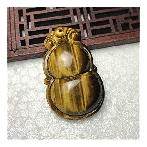 Colgante natural ojo de tigre piedra madera cambiada piedra tallada a mano calabaza collar colgante joyería regalos con collar de cuerda