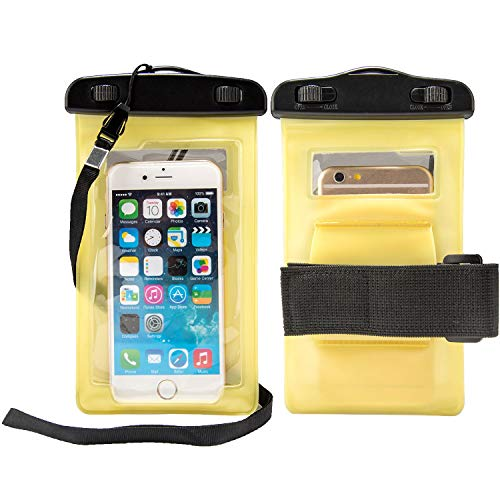 """Waterproof Case Smartphone Dry Pouch (Yellow) w/Neck Lanyard - Compatible w/iPhone XR/XS/X/8 Galaxy S10/S9/S8 Pixel 3 OnePlus Huawei LG Sony, Phones up to 6"""" Great for Swim Pool Beach Bath Travel"""