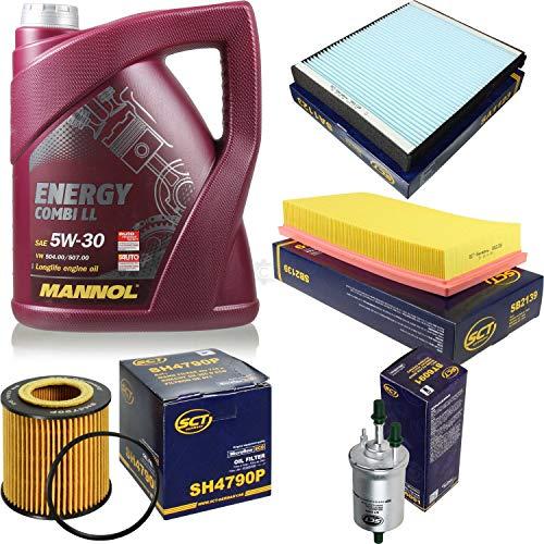 Filter Set Inspektionspaket 5 Liter MANNOL Motoröl Energy Combi LL 5W-30 API SN/CF SCT Germany Innenraumfilter Luftfilter Ölfilter Kraftstofffilter