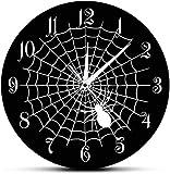 Reloj de Pared Telaraña Reloj de Pared de Cuarzo Negro Signo de Fiesta de Halloween Telaraña de Terror Telaraña Decoración de Pared Reloj de Pared Moderno Movimiento silencioso 30X30Cm