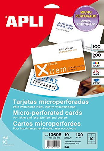Apli Paper 10608 Tarjeta Visita Blanca Microperforada 10H