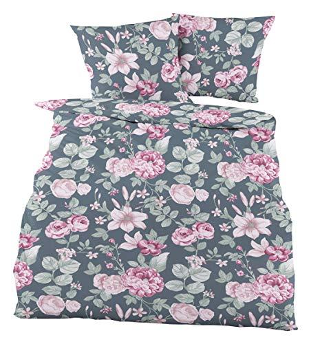 Dormisette Biberbettwäsche 5522 Rose 1 Bettbezug 135x200 cm + 1 Kissenbezug 80x80 cm