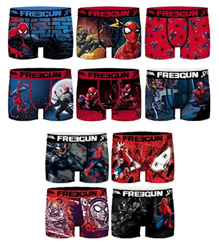 Freegun Underwear. - Boxer Freegun Homme Cobranding Spiderman en Microfibre -Assortiment modèles Photos Selon arrivages- Pack de 6 Boxers Surprise S