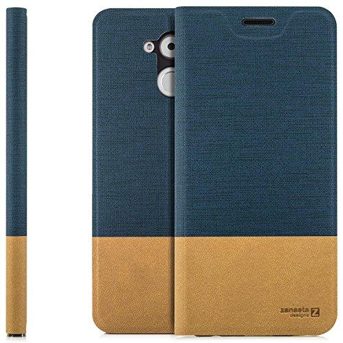 zanasta Tasche kompatibel mit Huawei Honor 6C mit Kartenfach Hülle Flip Hülle Slim Schutzhülle Handytasche, Standfunktion | Blau