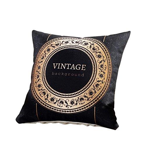 Retro Europea y americana funda de almohada transpirable (lino decoración salón oficina coche sofá fundas de cojín, lino, Style4, 45*45cm