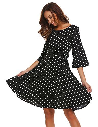 Meaneor Damen Elegantes Vintage Sommerkleid Skaterkleid Festliches Kleid Swing Kleid mit Gürtel...