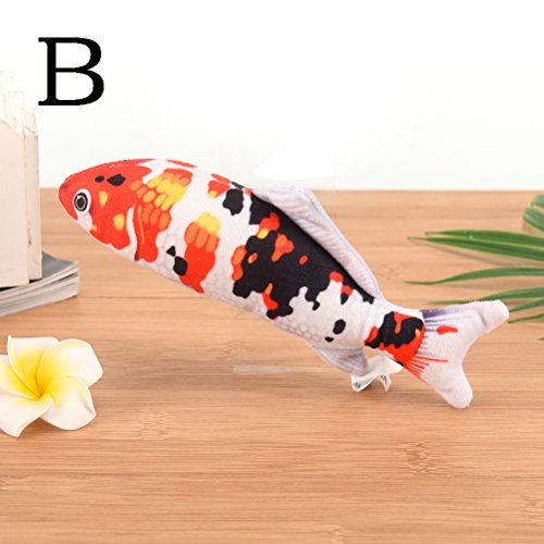 CoscosX Lifelike Fish Toys Simulation Plush Koi Fish Snapper Shape Doll Interactive Pets Pillow Chew Bite Kick Supplies for Cat/Kitty/Kitten/Dog Fish Flop Cat Toy Crinkle Toys
