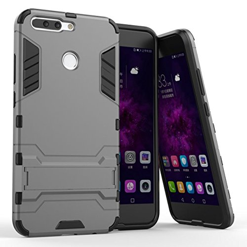 Huawei Honor 8 Pro Hülle, Huawei Honor V9 Hülle,MHHQ Hybrid 2in1 TPU+PC Schutzhülle Rugged Armor Case Cover Dual Layer Bumper Backcover mit Ständer für Huawei Honor 8 Pro/Honor V9 -Gray