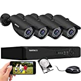 True 5MP SANSCO Expandable 8CH Home Security Camera System with 1TB HDD, 4Pcs 2K HD Wired CCTV Outdoor Waterproof Cameras, 8 Channel DVR for 24/7 Recording, Instant Email/APP Push Alert, Remote Access