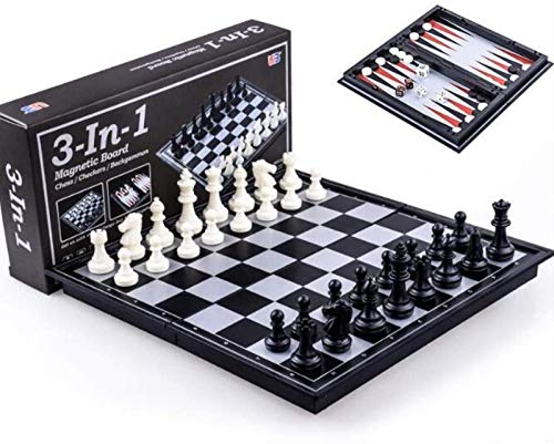 Chess Board Chess & Checkers & Backgammon 3 in 1 Chess Learning Set Outdoor Travel Games Folding Magnetic Board Classic Chess Set (Size : M) Best Gift