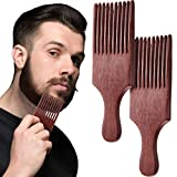 2 Pieces Wooden Beard Comb Wood Hair Pick Comb Beard Pick Comb Wooden Hair Picks Long Tooth Detangling Comb for Women Men (Natural Color) (Reddish Brown)