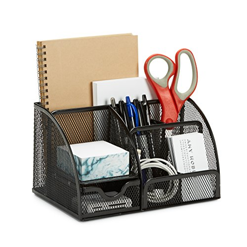 7 Compartment Wire Mesh Desk Organizer Black Compact Caddy for Desk Accessories Perfect for Home Students or Office