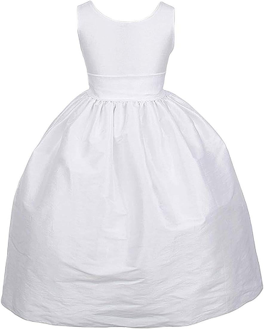 Girl's White or Ivory V-Back PolySilk Tea-Length Special Occasion Dress