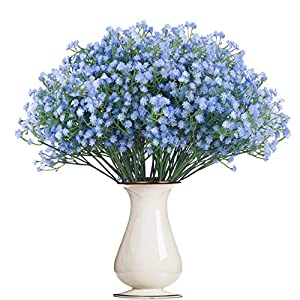 Bosslandy Babys Breath Artificial Flowers Fake Bule Bouquet of Flowers for Wedding 12 Pcs Faux Dried Baby's Breath Crown Silk Real Touch Gypsophila for Home Party Garden Decoration(Blue)