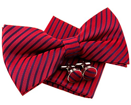 """Retreez Modern Stripe Woven Microfiber Pre-tied Bow Tie (Width: 5"""") with matching Pocket Square and Cufflinks, Gift Box Set as a Christmas Gift, Birthday Gift - Red with Navy Blue Stripe"""