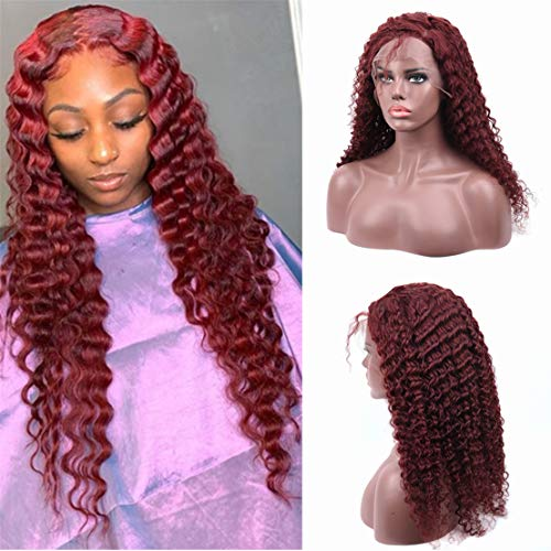Zhuoqi 99J 13x4 Lace Front Wigs for Black Women Short Bob Wigs 150% Density Pre Plucked Natural Hairline Deep Wave Wigs Burgundy Afro Curly Human Hair Wig (18, 99j deep 13x4 wig)