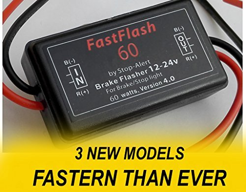Stop-Alert FastFlash 60 Watts Brake Flasher Tail & Stop Light Strobe 50X Fastest Preprogrammed 3 Blink Pattern Sequence - LED & ANY OTHER BULB for Cars, Trucks, Motorcycles mount 5A 12-24V