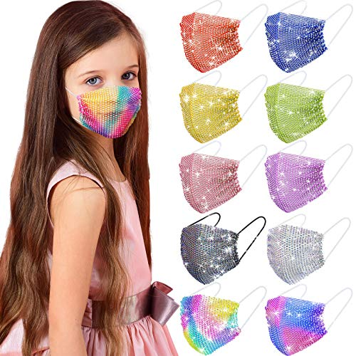 10 Kid Colorful Rhinestone Face Cover Mesh Glitter Sparkly Sequin Face Covering Children Teen Girls Adjustable Masquerade (Vivid Color)