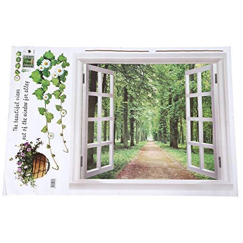 KU Syang Riesige Fenster 3D-Blick ins Gruene Blumen Pflanzen Wandsticker Kunst-Wandtattoo Tapete