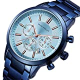 Mini Focus Reloj Hombre, Luminoso Cronógrafo de Acero Inoxidable Reloj de Pulsera de Cuarzo de Negocios Relojes de Vestir con Caja (Light Blue)
