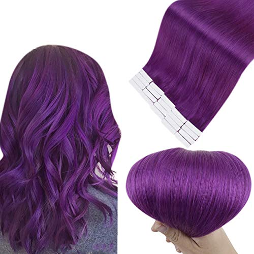 Easyouth Tape Extension Capelli Remy Human Hair Great Lengths Seamless Tape ins Extension Colore Purple 18pollici 50g 20pieces Real Hair Extension for Women